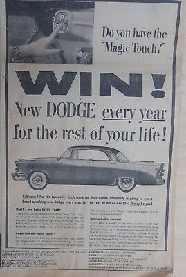 1955 newspaper ad for Dodge - Do You have the Magic Touch? Push Button driving