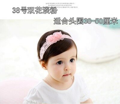 fashion baby infant girl lace chiffon flower elastic soft headband hair bands 38