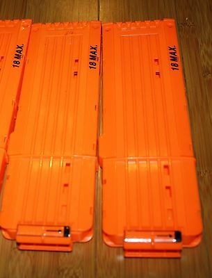 Lot 2 Nerf N-Strike Soft Dart Gun 18 Round Magazine Clips Solid Orange Genuine
