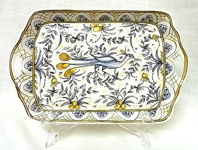 Vintage Hand Painted Bird Peacock Olive Tree Handled Portugal Serving Tray