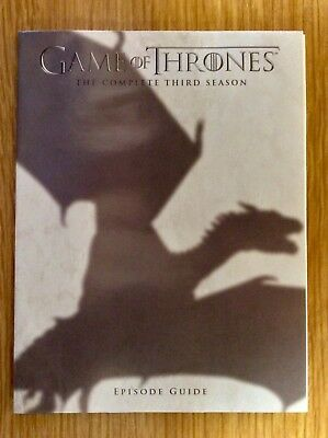 Blu-ray Episode Guide for Game of Thrones Season 3  -  Small Booklet - NO DISCS