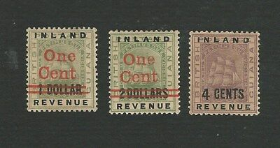 British Guiana 1888-90. 3 Difft 'inland Revenue' Overprint Stamps To 4C. Mh