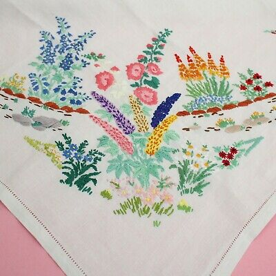Stunning! Antique Handmade Embroidered Floral White Linen Tablecloth 85cm x 81cm