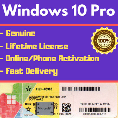 Genuine Windows 10 Pro 32/64Bit OEM License Activation Product Key Fast Delivery