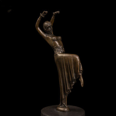 Art Deco handmade Sculpture European Beauty dance Dancer  Bronze Copper Statue