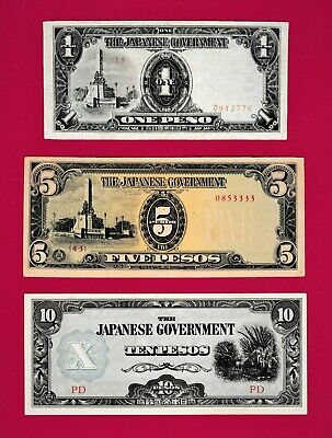 "SCARCE ""JAPANESE GOVERNMENT"" (PHILIPPINES) WW-2 NOTES: 1, 5 & $10 Pesos 1943-45"