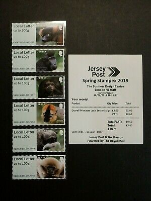 Jersey Post And Go - Local Letter Strip Durrell Primates - Spring Stampex 2019