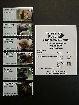 Jersey Post And Go - Collectors - Strip Durrell Primates - Spring Stampex 2019