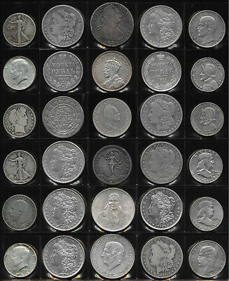29 BIG OLD WORLD SILVER COINS (MOST USA) & 1 MEDAL 18.9 TrOz Gross Wt >> NO RSRV