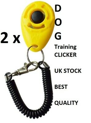 2 Yellow DOG  PET TRAINING CLICKER/TRAINER TEACHING TOOL /DOGS/PUPPY with Wrist
