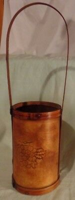 Wine Caddy Carrier  With Handle Wood With Grapes & Leaves Single Bottle