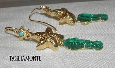 Price Reduced*TAGLIAMONTE(914)Earrings*YGP925*Teal Seahorse+Golden Starfish+Turq