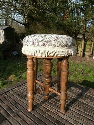 Beautiful Antique Victorian Rise & Fall Swivel Upholstered Piano Stool.