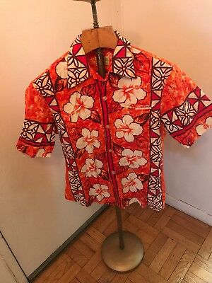 d1df9dea7 Mens Vintage 1960s UI-MAIKAI Hawaiian Aloha Shirt Red Made In Hawaii Shirts  Sz M