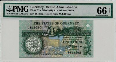 The States of Guernsey Guernsey  1 Pound ND(1991)  PMG  66EPQ
