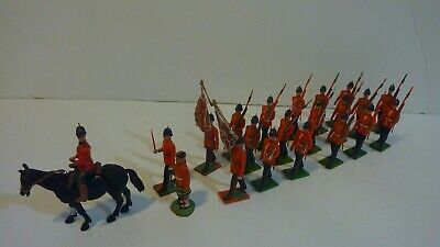 Britains all plastic Scots Guard infantry with mounted officer