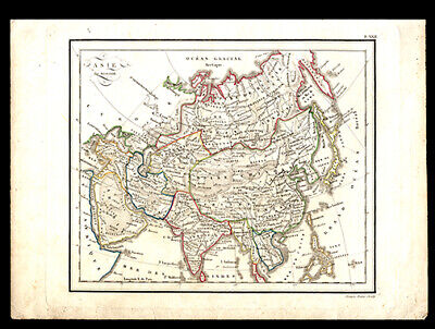 1810 Copper Plate Engraving  Map of Asia Hand-Colored India Saudi Arabia Russia