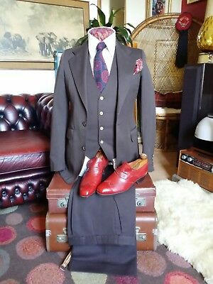 70's Vintage Dandy Flared 3 Piece Suit.Saturday Night Fever Studio 54.X Small.
