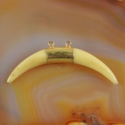 Crescent Horn Cream Resin Gold Plated Connector DIY Making H130847