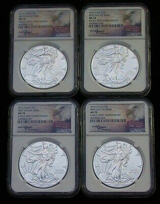 (4) 2016 NGC MS70 First Day 30th Anniversary Mercanti Silver Eagles (rb1990)