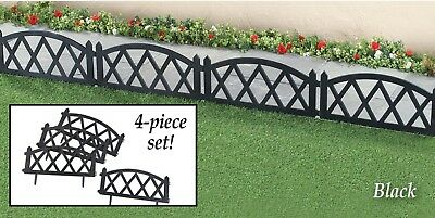 Set of 4 Classic Black Picket Fence Garden Border Edging