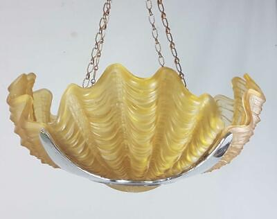 ANTIQUE ART DECO ODEON STYLE 4 CLAM SHELL CHROME & GLASS CEILING LIGHT lampshade