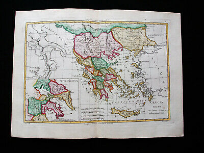 "1787 BONNE ""amazing map"" of TURKEY in EUROPE, GREECE, BALKAN REGIONS, MACEDONIA"