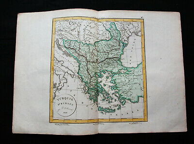 1829 VAUGONDY & DELAMARCHE - TURKEY in EUROPE, BALKANS, GREECE, MACEDONIA KOSOVO