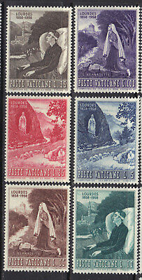 Vatican 1958 Apparition of the Virgin Mary at Lourdes MNH Sc # 233-238