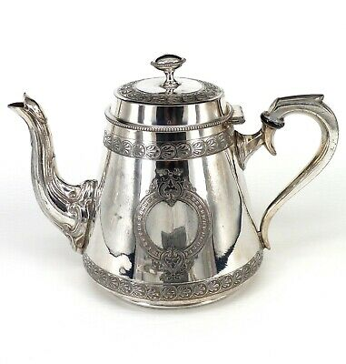 Silver Art Nouveau Style Tea Pot With Scroll Handle