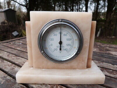"Lovely Vintage Art Deco Marble Desk Top ""rototherm"" Thermometer."