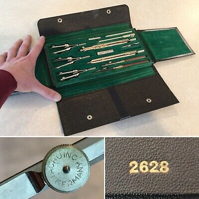 Vintage Antique TACRO INC 12-Piece Drafting Tools Kit Set in Case #2628 Germany