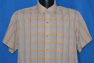 vintage 80s JC PENNEY THE FOX PASTEL PLAID BUTTON DOWN SS MEN'S SHIRT LARGE L