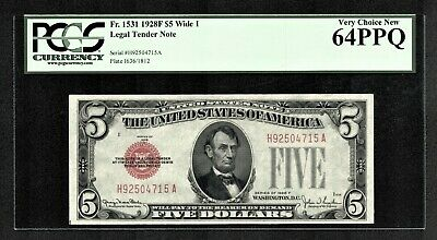 $5 1928F Wide I Red Seal Legal Tender Note HA Block PCGS Very Choice New 64PPQ