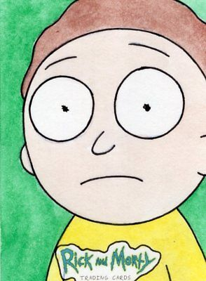 2018 Cryptozoic Rick and Morty Color Hand Drawn Sketch Card by Borgonos - Morty