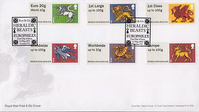 GB 2015 (13th May) Heraldic Beasts Europhilex Post & Go Stamps on RM Cover