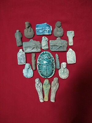 18 Ancient Egyptian Antiques rare Amulets (1816 BC)