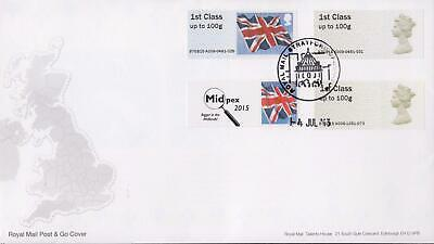 GB 2015 (14th July) Midpex Post & Go Stamps on RM Cover