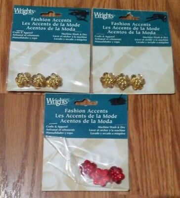 Lot Of 3 Wrights Small Bead Sequin Flower Fashion Accents In Red & Gold