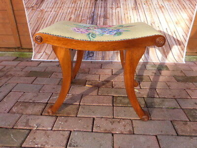 Beautiful Antique Edwardian Mahogany Upholstered Footstool With Tapestry Seat.