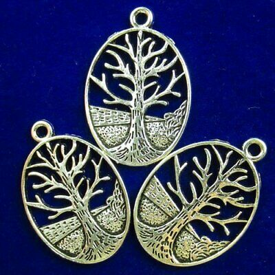 3Pcs Carved Tibetan Silver Tree Of Life Oval Pendant Bead 30x24x2mm D61633