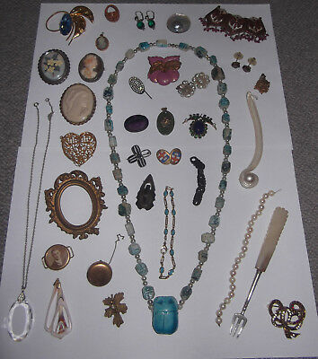 Job Lot Of Antique & Vintage Jewellery - Egyptian, Baroque Pearls, Cameos, Deco