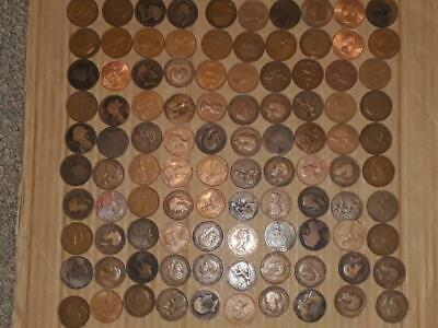(P14) Huge Job Lot Of 100 Pre-Decimal Bronze Penny Coins ~ Victoria  Onwards