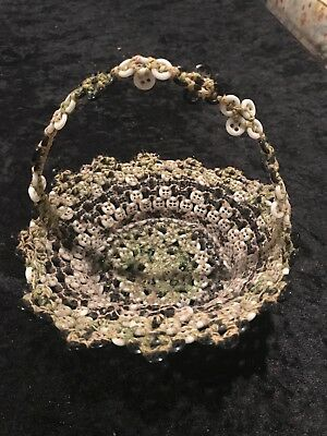 RARE 1940's Vintage Round  SEWING Button BASKET Made Completely Of Buttons