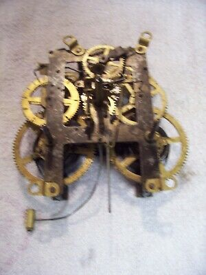 E. Ingraham 8 day front mount mantel clock movement for parts or repair  4/97