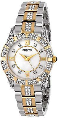 Bulova White Mop Dial Crystals Two-Tone St. Steel Women's Watch 98L135 New