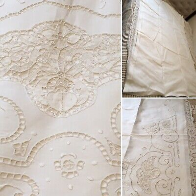 """VICTORIAN EMBROIDERED FRENCH PURE LINEN LACE BED SHEET TAPESTRY COVERLET 72""""x92"""""""