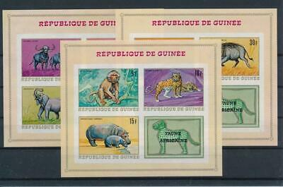 [G47887] Guinea 1968 : Fauna - Good Set of 3 Very Fine MNH Imperf Sheets - $30