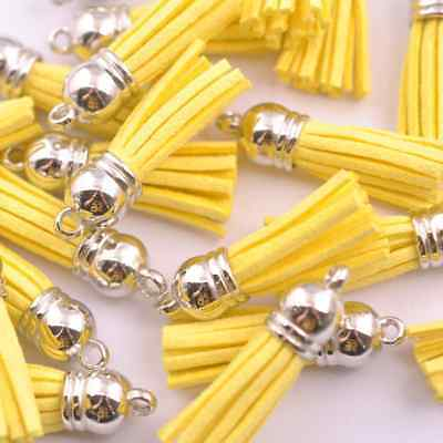 10pcs Yellow Silver-Tone-Metal-Top-Tassels-Terylene-Velvet-Pendant-for-jewer