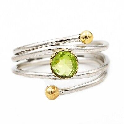 Two Tone Peridot 925 Solid Sterling Silver Ring Jewelry Sz 6.5